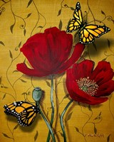 Red Poppies With Yellow Butterflies Fine Art Print