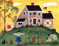 Scarecrow Pumpkin Sheeppsd Fine Art Print