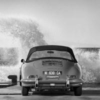 Ocean Waves Breaking on Vintage Beauties (BW detail 1) Fine Art Print