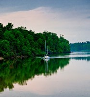 Sailboat Sailing Down the Tombigbee River in Mississippi Fine Art Print