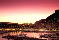 Harbor at Sunset, Monte Carlo, Cote D'Azure, Monaco Fine Art Print