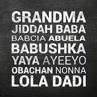 Grandma Various languages - Chalkboard Fine Art Print