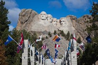 Mount Rushmore National Memorial, Avenue of Flags, South Dakota Fine Art Print