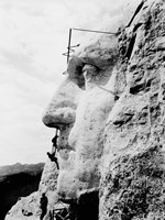 Construction of George Washington's face on Mount Rushmore, 1932 Fine Art Print