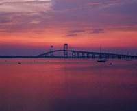 The Newport Bridge at sunset, Newport, Rhode Island Fine Art Print