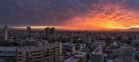 Cityscape at sunset, Santiago, Chile Fine Art Print