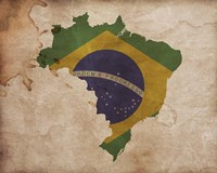 Map with Flag Overlay Brazil Fine Art Print
