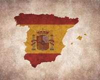 Map with Flag Overlay Spain Fine Art Print