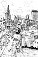 B&W City Scene III Fine Art Print