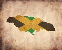 Map with Flag Overlay Jamaica Fine Art Print
