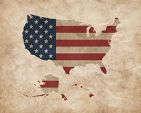 Map with Flag Overlay United States Fine Art Print