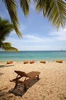 Beach, palm trees and lounger, , Fiji Fine Art Print