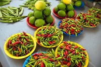 Peppers, fruit and vegetable outdoor market, Suva, Fiji Fine Art Print