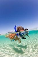 Couple snorkeling near Beqa Lagoon, Beqa Island, Fiji Fine Art Print
