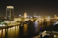 Night View of the Nile River, Cairo, Egypt Fine Art Print