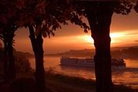Sunset, Cruise ship, Danube River, Bratislava, Slovakia Fine Art Print