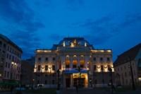 Night view of Bratislava Opera House, Slovakia Fine Art Print