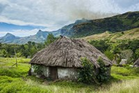 Traditional thatched roofed huts in Navala in the Ba Highlands, Fiji Fine Art Print