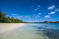 White sand beach and turquoise water, Nanuya Lailai Island, Blue Lagoon, Yasawa, Fiji Fine Art Print