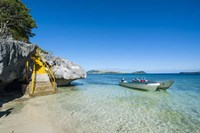 Little motorboats anchoring before the Sawa-I-Lau Caves, Yasawa, Fiji, South Pacific Fine Art Print