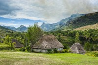 Traditional thatched roofed huts in Navala in the Ba Highlands of Viti Levu, Fiji Fine Art Print