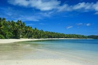 White sand beach and water at the Nanuya Lailai island, the blue lagoon, Yasawa, Fiji, South Pacific Fine Art Print