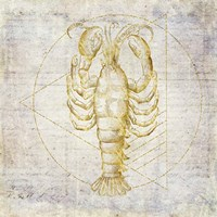 Lobster Geometric Gold Fine Art Print