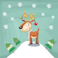 Snowy Reindeer Fine Art Print