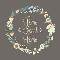 Home Sweet Home Floral Brown Fine Art Print