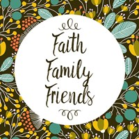 Faith Family Friends Retro Floral Black Fine Art Print