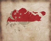 Map with Flag Overlay Singapore Fine Art Print