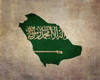 Map with Flag Overlay Saudi Arabia Fine Art Print