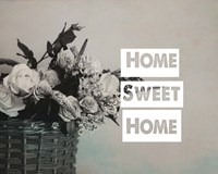 Home Sweet Home Flower Basket Black and White Fine Art Print