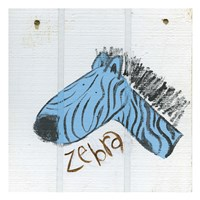 Happy Blue Zebra Fine Art Print