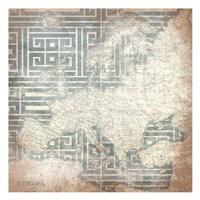 Patterned Map Europa Fine Art Print