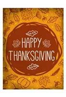 Happy Thanksgiving Orange Fine Art Print