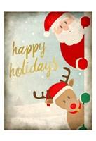 Santa and Rudolph Fine Art Print
