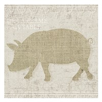 Burlap Farm Animals 3 Fine Art Print