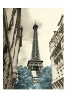 Teal Eiffel Tower 1 Fine Art Print