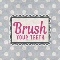 Brush Your Teeth Gray Pattern Fine Art Print