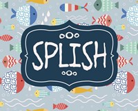Splish and Splash Fish Pattern Blue Part I Fine Art Print