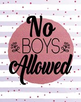 No Boys Allowed Stripes and Dots Pink Fine Art Print