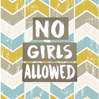 No Girls Allowed Chevron Pattern Yellow Fine Art Print