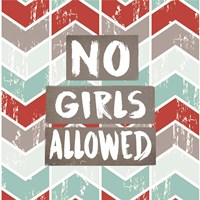 No Girls Allowed Chevron Pattern Red Fine Art Print