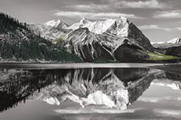 Kananaskis Lake Reflection BW with Color Fine Art Print