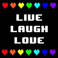 Live Laugh Love -  Black with Pixel Hearts Fine Art Print