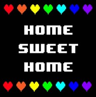 Home Sweet Home -  Black with Pixel Hearts Fine Art Print