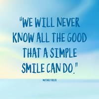 Simple Smile - Mother Teresa Quote (Blue) Fine Art Print