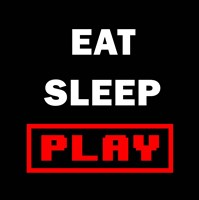 Eat Sleep Play - Black with Red Text Fine Art Print