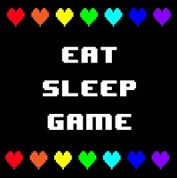 Eat Sleep Game -  Black with Pixel Hearts Fine Art Print